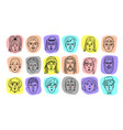 people avatars funny faces men and vector image