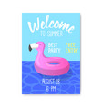pool party poster banner invitation summer vector image vector image
