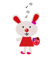 Red easter singing bunny vector image vector image