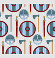 Seamless viking pattern with shields helmets ax vector image