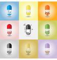 set different conceptual medicine capsules vector image vector image