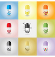 Set of different conceptual medicine capsules vector image vector image