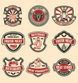 set of vintage meat store labels design element vector image vector image