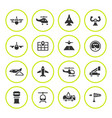 set round icons aviation vector image