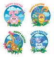 Set sticker with rabbit vector image vector image