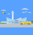 solid modern airport terminal building and yellow vector image vector image