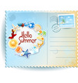 summer postcard with colorful icons and message vector image