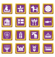 sweden travel icons set purple square vector image vector image