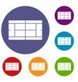 tennis court icons set vector image vector image