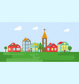 urban landscape village in summer flat design vector image vector image
