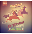 Vintage Galloping Horse Christmas 2014 Card vector image