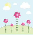 flowers on a meadow against the sky vector image