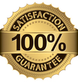 100 percent satisfaction guarantee golden sign wit vector image vector image