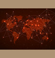 abstract world map with network connection vector image vector image