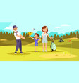 aged concentrated man shooting golf ball at course vector image vector image