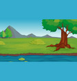 background scene with tree in park vector image vector image