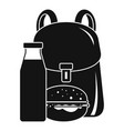 Backpack milk burger icon simple style