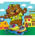 Bear skateboarder on a colored background vector image
