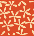 beige stylized flowers on orange background vector image vector image
