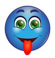 Blue emoticon showing tongue vector image vector image
