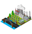 bridge along the power station in 3d design vector image vector image