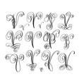 calligraphy lettering script font v set hand vector image