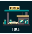 Car at gas station in flat style vector image vector image