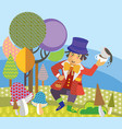 cartoon mad hatter image vector image vector image