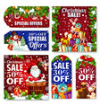 christmas sale tag and new year discount card vector image vector image
