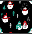 christmas seamless pattern of snowmans vector image vector image