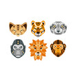 collection animal heads with tribal ethnic vector image