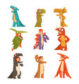 collection cute kids in costumes dinosaurs vector image vector image
