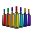 Color Glass Wine Bottles vector image
