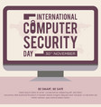 computer security day letter in monitor screen vector image vector image