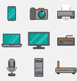 Computers icons thick line vector image vector image