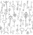 Decorative black and white vintage antique keys vector image