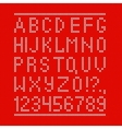Embroided by cross stitch english alphabet with vector image vector image