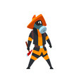 fireman in a protective mask standing with axe vector image vector image