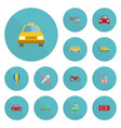 flat icons automobile aircraft automotive and vector image vector image