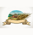 graphical landscape and wheat vector image vector image