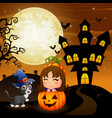 halloween background with little girl in basket pu vector image