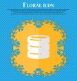 hard disk date base Floral flat design on a blue vector image