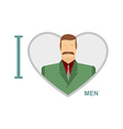 I love men Male and symbol of heart of a m vector image vector image
