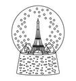 line eiffel tower inside snow ball glass vector image
