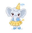 little elephant stands in a beautiful yellow dress vector image vector image