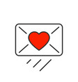 love message sendind line icon on white background vector image vector image