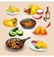 Mexican food Objects set vector image vector image