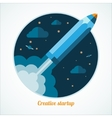 Modern startup concept with starting pen rocket vector image vector image