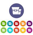 mug icons set color vector image vector image