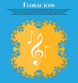 musical notes icon Floral flat design on a blue vector image